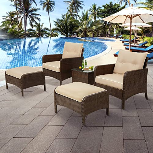 U-MAX 5 Pieces Patio Furniture Set Outdoor Chair and Ottoman Set
