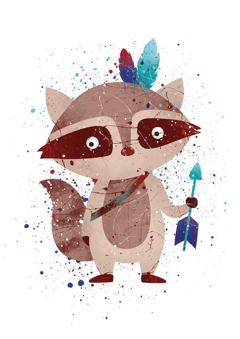 Baby Watercolor Art Print Wall Art Poster 8x10 P35 Nursery Wall Art Sett PGbureau Tribal Woodland Animals