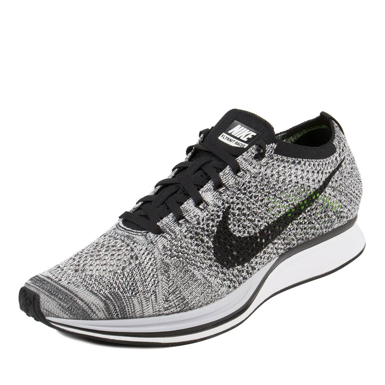 03769c24733 Galleon - NIKE Mens Flyknit Racer White/Black-Volt Fabric Size 7.5
