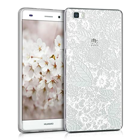 kwmobile Funda para Huawei P8 Lite (2015) - Carcasa Protectora de [TPU] con diseño de mar de Flores en [Blanco/Transparente]
