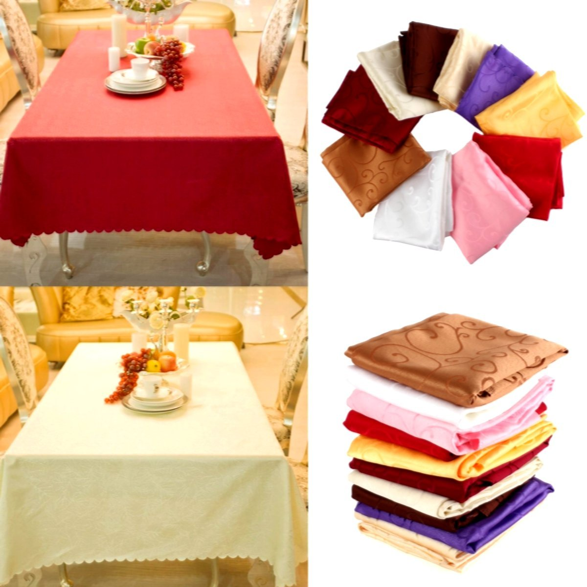Bazaar 160cm Polyester Absorbent Square Tablecloth For Hotel Restaurant Wedding Decor