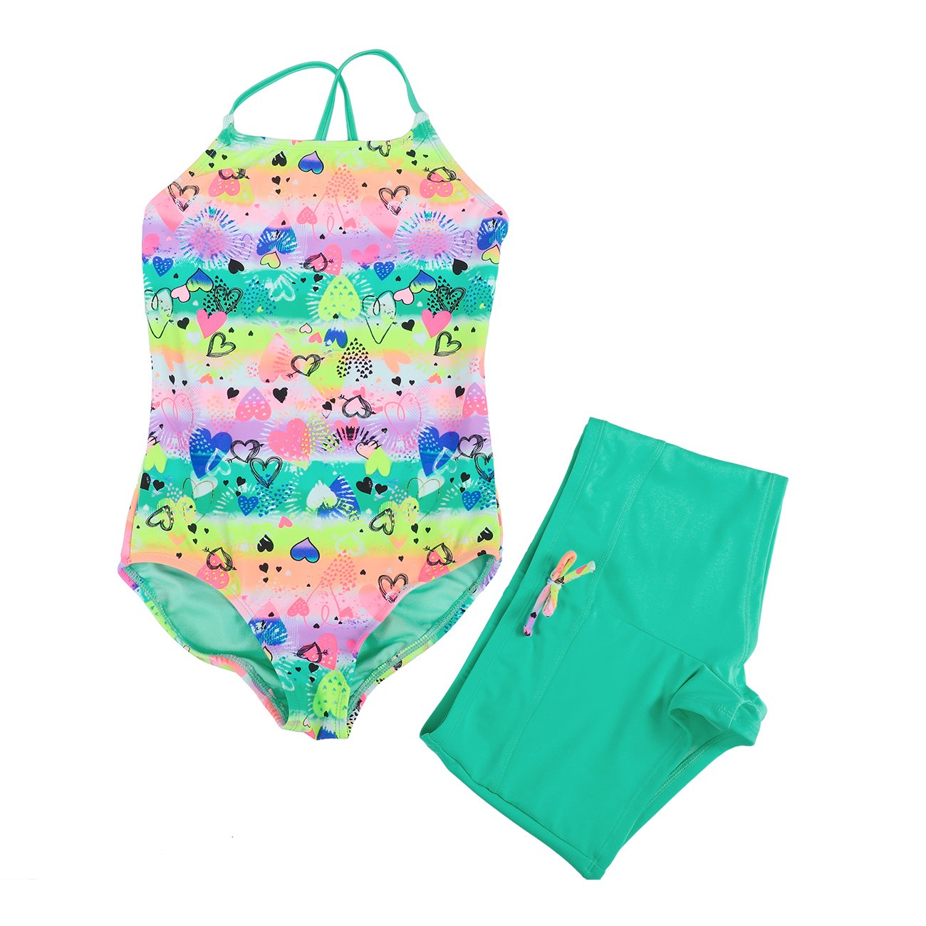 DAYU Girls Swimwear 3-Piece UV Protection Swim Set Small Squid Swimsuit Bikini Swimsuit -6-14