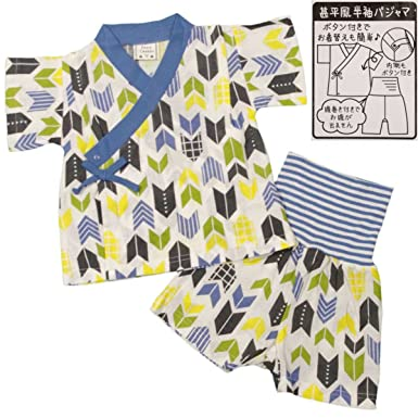 e5e869b142a84 Amazon.co.jp: ボーイズベビーパジャマ PETIT CADEAU 甚平風半袖 ...
