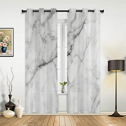 Watercolor Marble Pattern Window Curtains