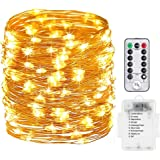 Battery Operated String Lights, Homesweety 33ft 100 LED String Lights Dimmable with Remote Control for Outdoor, Bedroom, Patio, Valentine's Day, Party, Wedding (Waterproof, Silver Wire, Warm White)