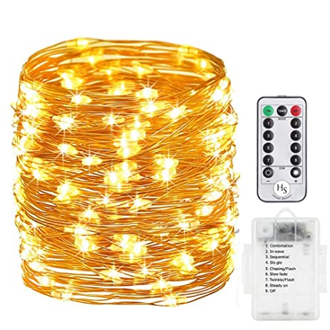 Battery Operated String Lights, Homesweety 33ft 100 LED String Lights  Dimmable With Remote Control For