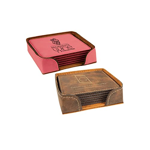 amazon com customized leather coaster set 6 coasters with holder