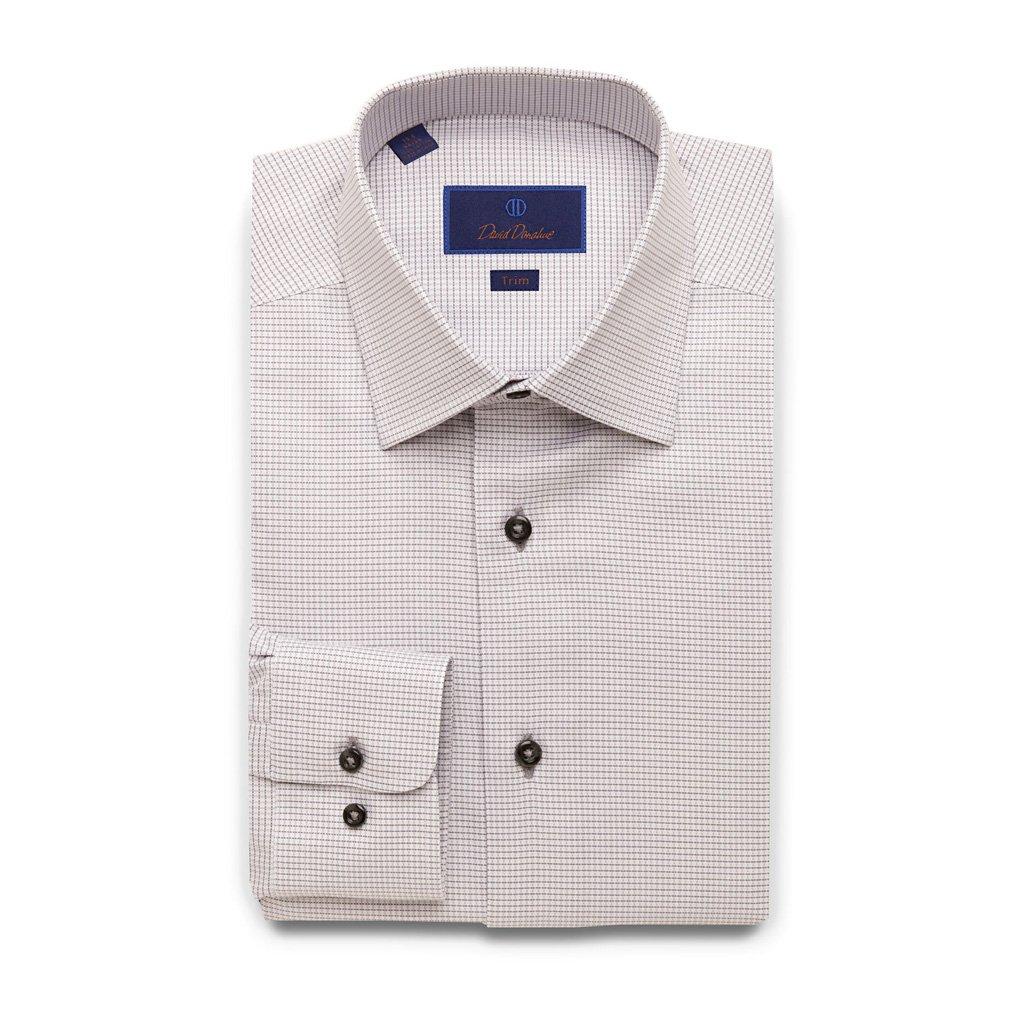 David Donahue Trim Fit Two Tone Royal Oxford Dress Shirt 16'' Neck 36/37'' Sleeve, Grey
