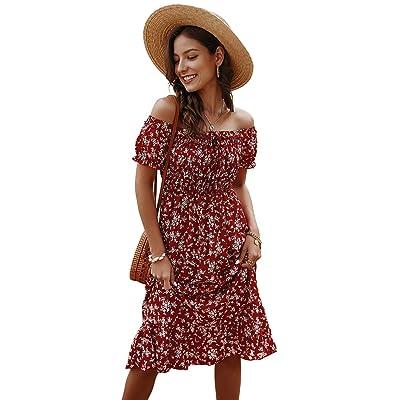 Toppshe Women Floral Print Off Shoulder Maxi Dresses Summer Boho Short Sleeve Beach Dress: Clothing