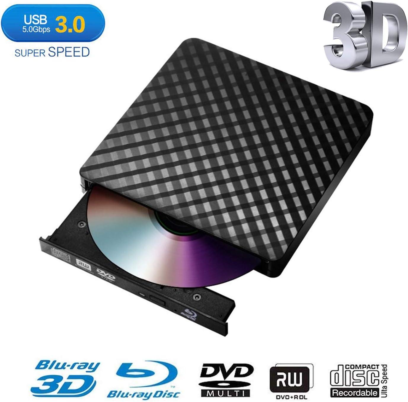 External Blu Ray DVD Drive,Portable Ultra-Thin USB 3.0 External 3D Blu Ray CD DVD BD Burner DVD RW Player Writer Reader Disk for Mac OS Windows XP/7/8/10 MacBook PC iMac Laptop-Black(Xglysmyc)