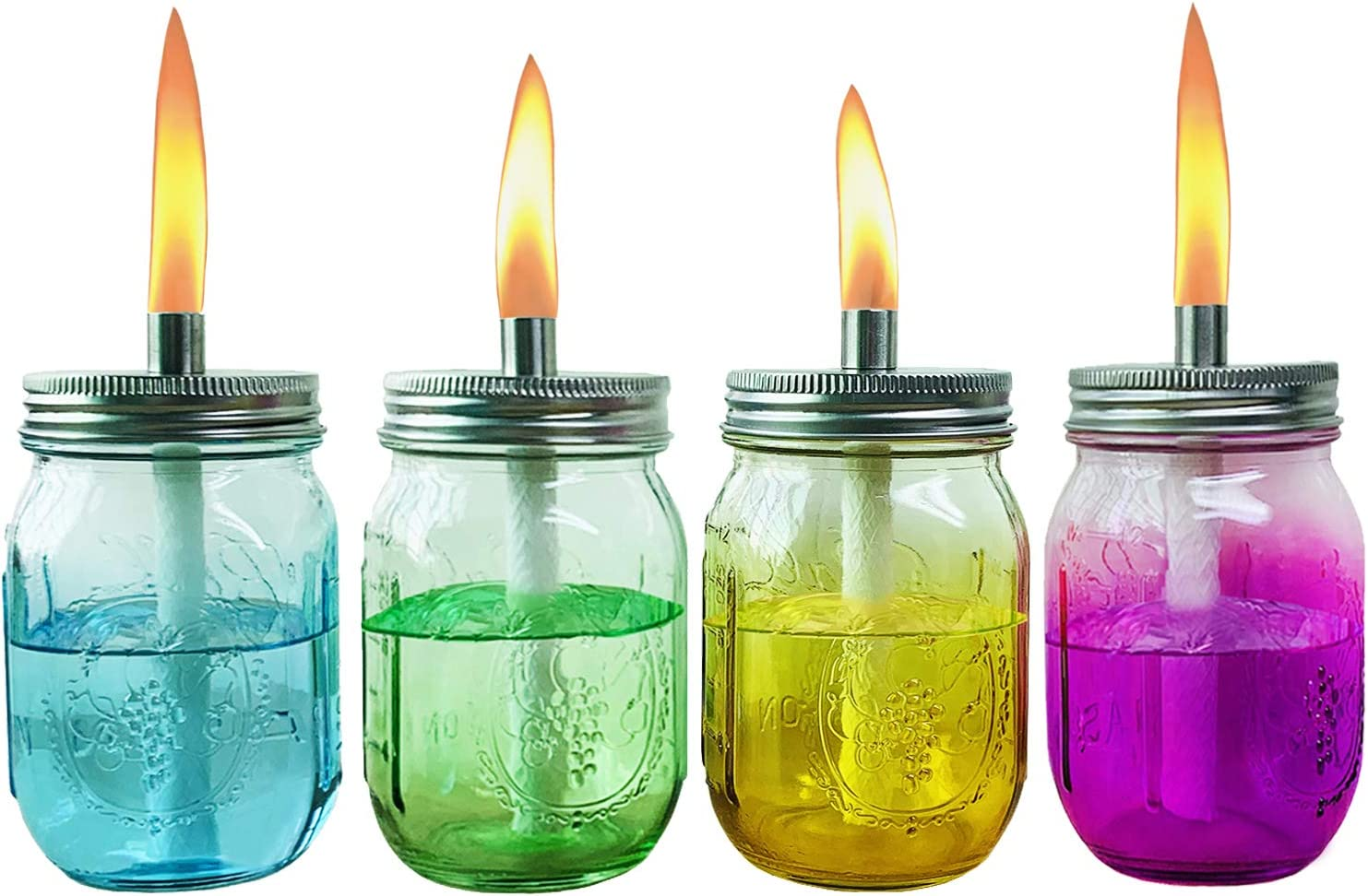 Aobik Multicolored Glass Outdoor Tabletop Torch Set, Fiberglass Wicks,Stainless Steel Lid with Fire Cover Caps,6-inch High,Blue,Green,Yellow & Rose,Set of 4 (4 Colors Jars Included)