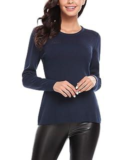 f8dad31f030034 Finejo Damen Langarmshirt Bluse T-Shirt Blumen Spitzen Sweatshirt Shirts  mit Reissverschluss Strick Oberteile Elegant