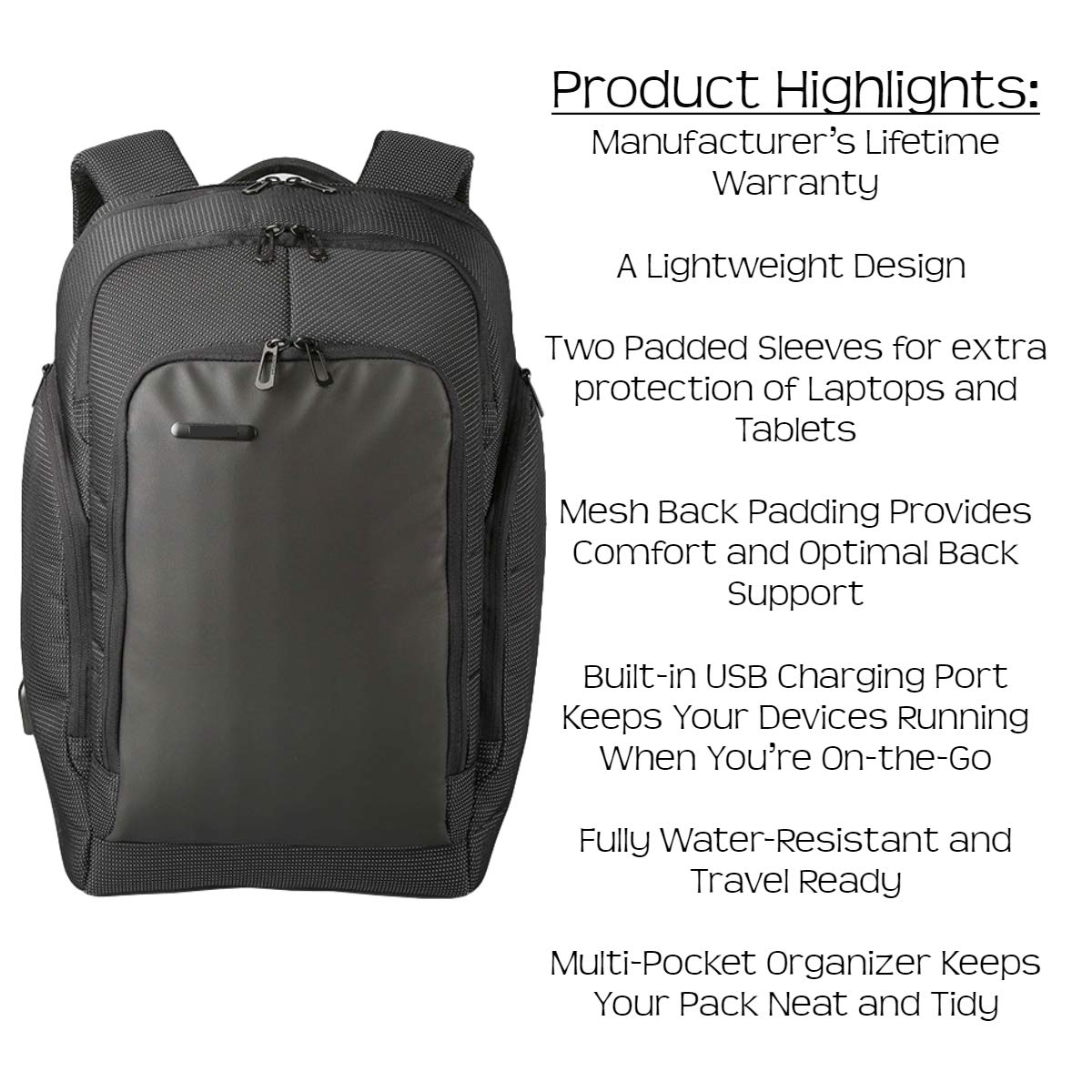 Amazon.com: Prime Weekender Travel Backpack with USB Charging Port (Black) TSA Compliant, Anti-Theft Laptop Bag | Lightweight, Portable Comfort ...