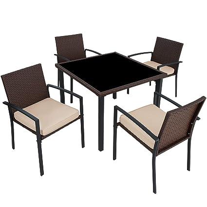 Balkonmöbel Tisch Stühle.Tectake Poly Rattan Gartenmöbel Gartengarnitur Essgruppe 4 Stühle 1 Tisch Leicht Und Strapazierfähig Mit Edelstahlschrauben Diverse Farben