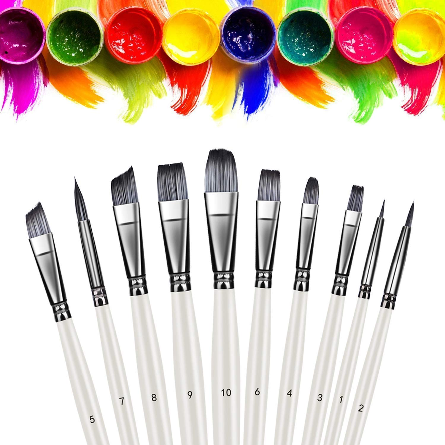 Artist Brush Set Xpassion Handmade Professional Acrylic Paint Brushes 10Pieces for Acrylic Watercolor Oil Painting,Pearl White