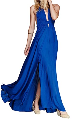 Teenoke Women Summer Deep V Neck Sexy Sleeveless Long Dress