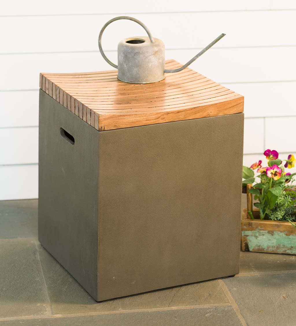 Outdoor Concrete Storage Container Cube with Wood Lid and Built In Handles, Use on Deck, Patio, and Garden, 16 L x 16 W x 18 H
