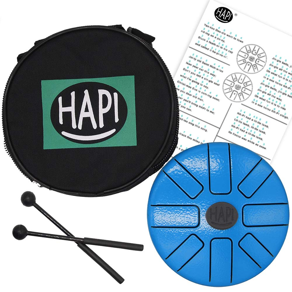 HAPI HDTINIAMN Tongue Drum 6.5'' Tini Steel Percussion Instrument - great for Camping, Yoga, Meditation, Music Therapy - A Minor with FREE padded travel bag