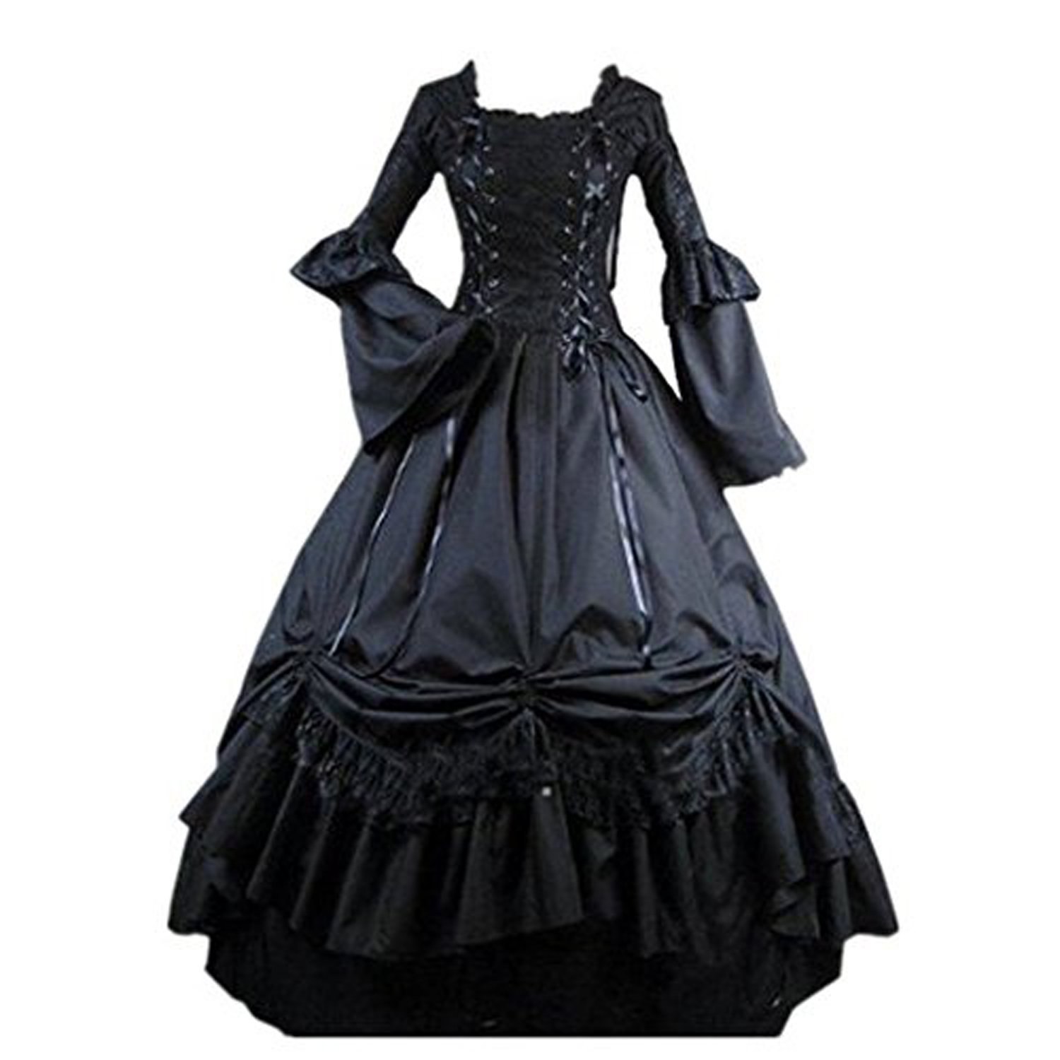 Amazon.com: Fantasy_Outlet Black Square Collar Gothic Victorian Prom ...