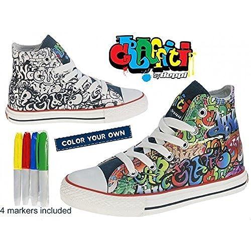 Bota Lona Infantil - Graffiti By Beppi - Zapatillas para colorear ...