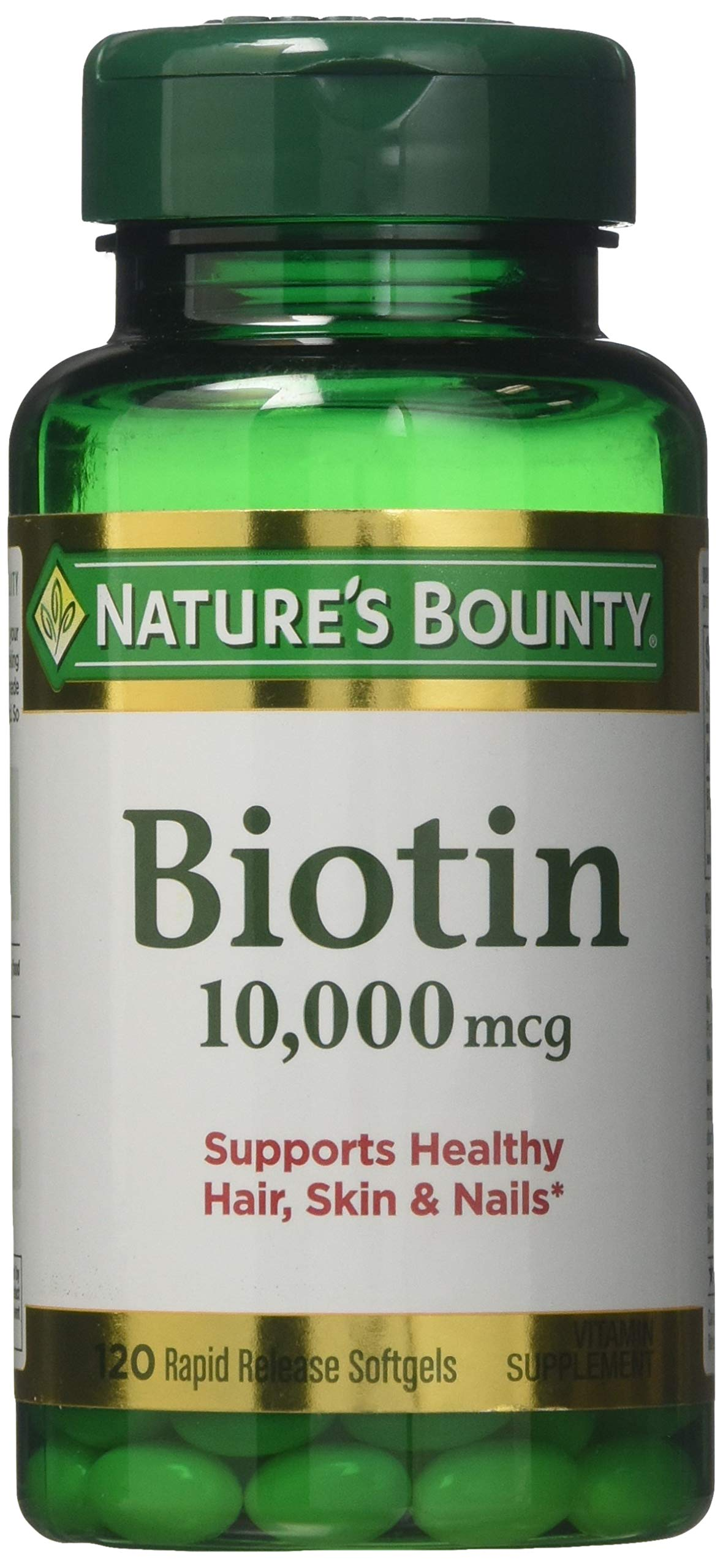 Nature's Bounty Biotin 10,000 mcg, Rapid Release Softgels 120 ea (Pack of 5)