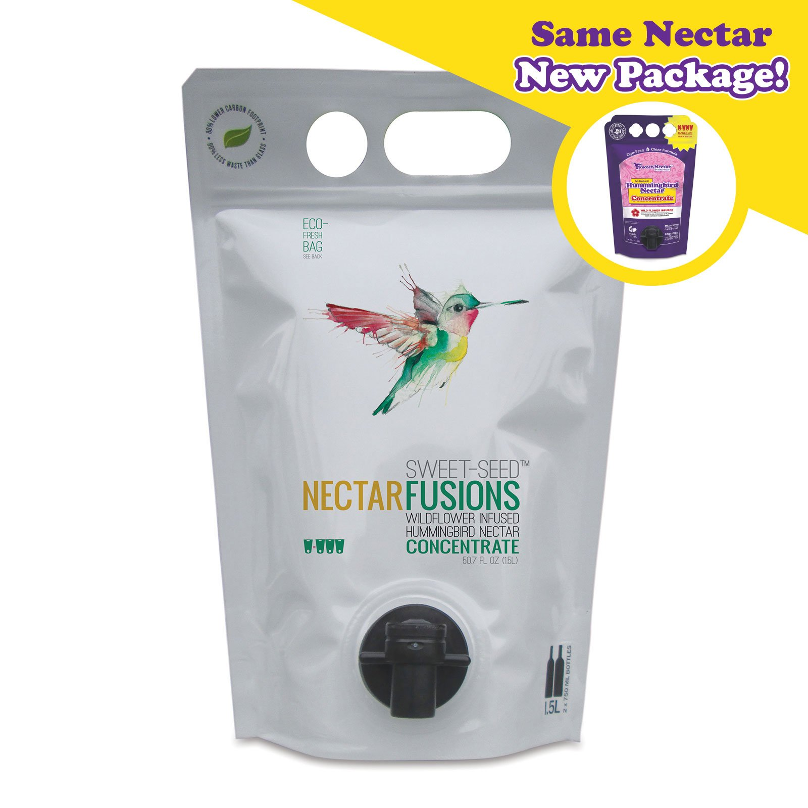 Sweet-Seed, LLC Nectar Fusions Hummingbird Food: All-natural & Dye Free, Wildflower Infused Hummingbird Nectar Concentrate (50 oz./Makes 150 oz.)