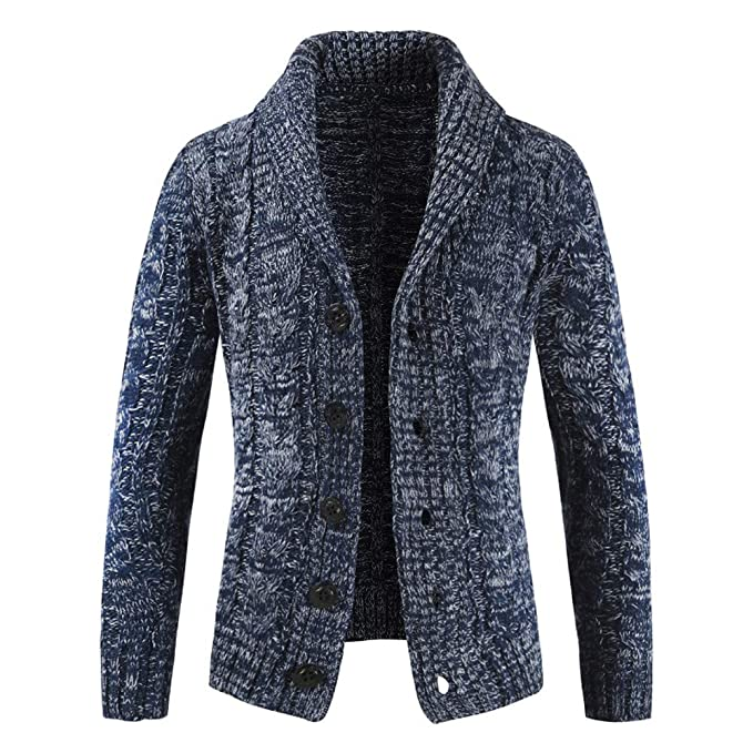Cardigan Hombre Botón Abrigo de Punto Chaqueta de Solapa Suéter Capa Sweater Coat Manga largas Otoño e Invierno Gusspower: Amazon.es: Ropa y accesorios