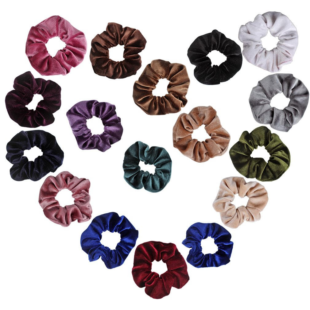 Ondder Velvet Scrunchies Hair Bobble Elastics Hair Scrunchy Hair Bands Headbands Women Scrunchies Bobbles Hair Ties, 16 Colors by Ondder