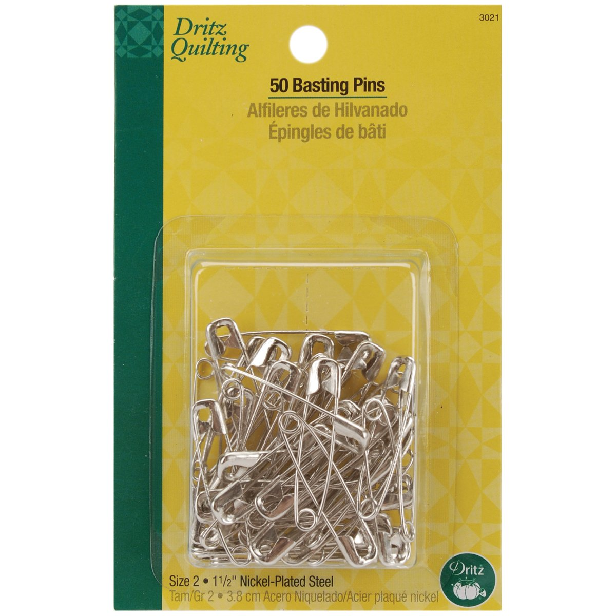 Dritz 1471#2 Steel Safety Pins with Nickel Finish, 1-1/2