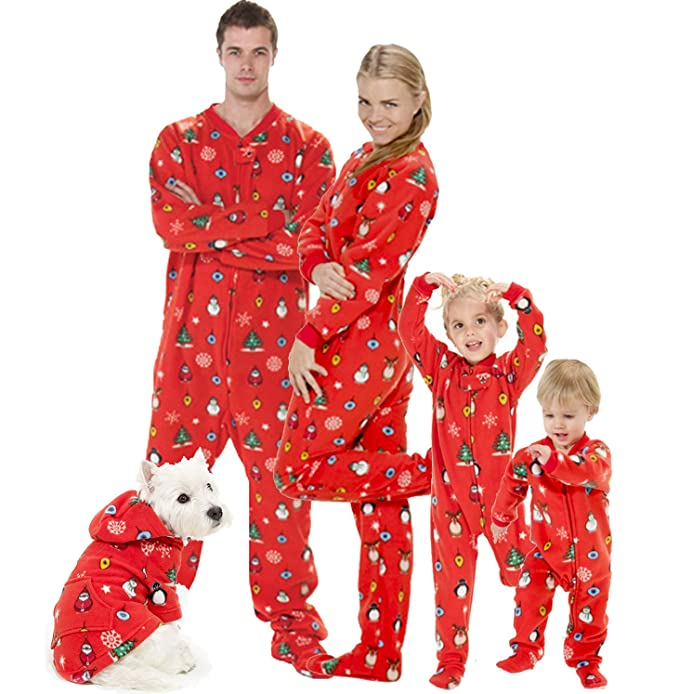 Amazon.com  Footed Pajamas - Family Matching Red Christmas Onesies for  Boys 1260f6796e