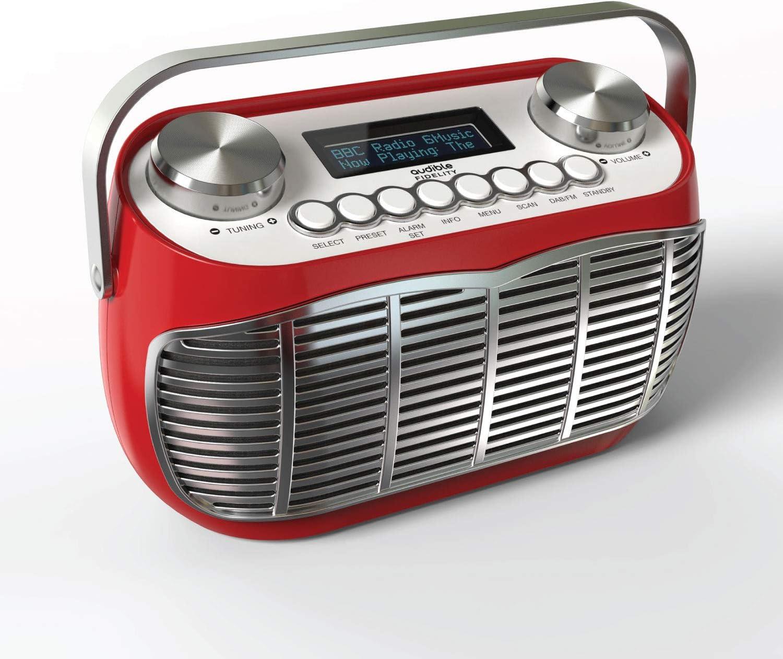 Detroit Dab Radiowecker Nachttisch Netzbetrieb Oder Batterie Dab Dab Fm Retro Radio Mit Lcd Display Radiowecker Rot Audio Hifi