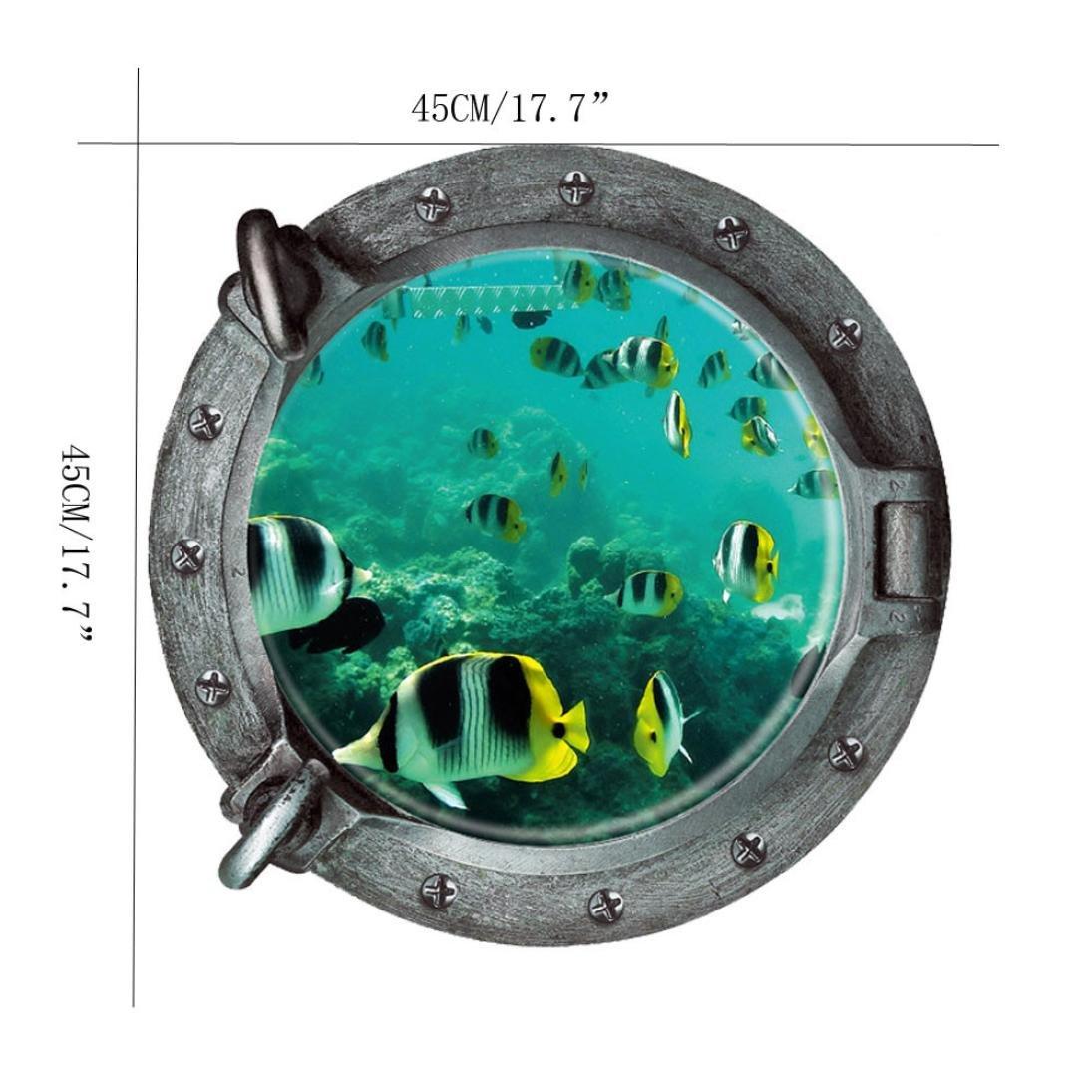 Jamicy/® Fantastischen u-Boot-Bullaugen Fisch Unterwasser Welt Wand Aufkleber Home Decor A Wandtattoo Wandsticker
