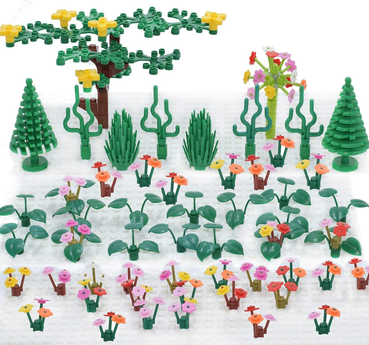Sawaruita Plant Building Bricks Supplement, Garden Pack Trees and Flowers  Botanical Accessories Block Compatible with All Major Brands Kids Games