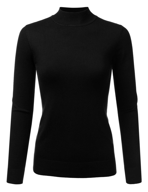 JJ Perfection Women's Soft Long Sleeve Mock Neck Knit Sweater Top Black L