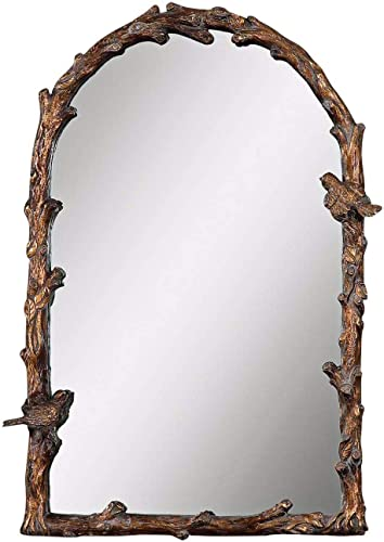 Uttermost Paza Gold 26″ x 37″ Songbirds Arch Wall Mirror