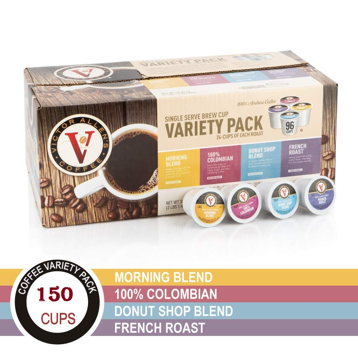 Donut Shop, Morning Blend, 100% Colombian, and French Roast Variety Pack for K-Cup, Keurig 2.0 Brewers, 150 Count Victor Allen's Coffee Single Serve Coffee Pods (150 Count)
