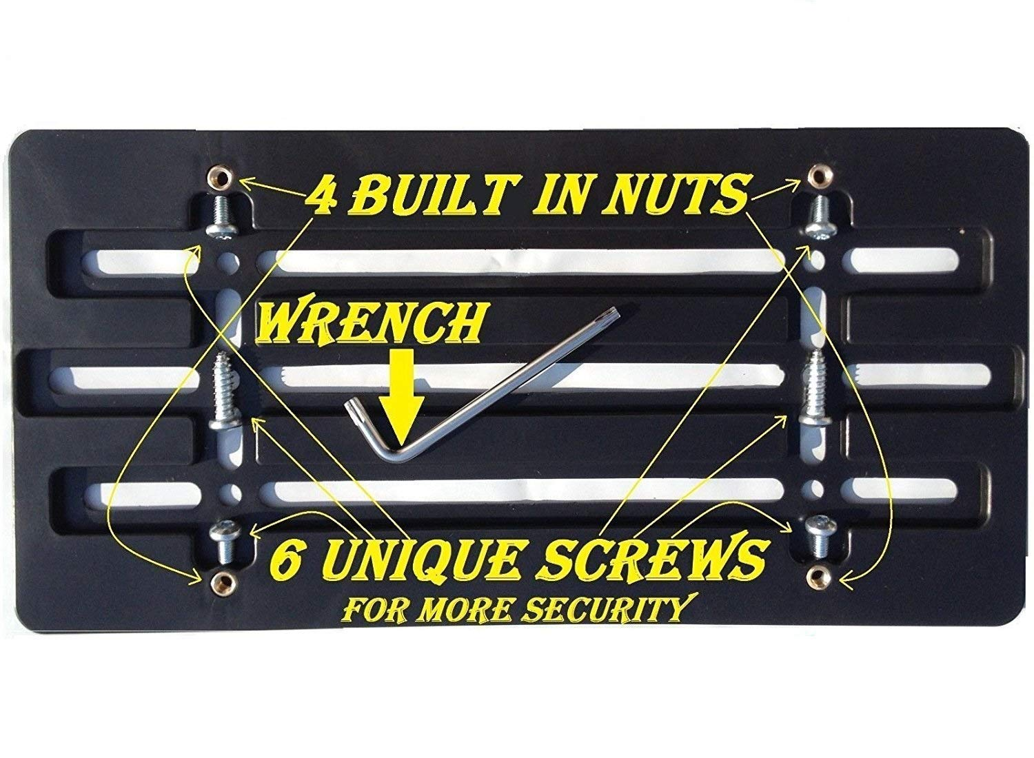 Trunknets Inc Universal Front Bumper License Plate Bracket + 6 Unique Screws and Wrench Kit