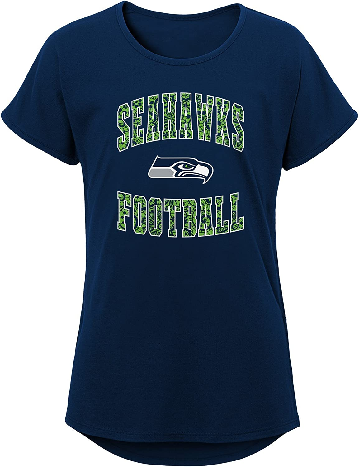 16 Outerstuff NFL NFL Seattle Seahawks Youth Girls Goal Line Short Sleeve Tri-Blend Tee Navy Youth X-Large