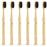 Bamboo Toothbrush, Vegan Natural ECO Friendly Wood Toothbrushes, Biodegradable Organic Charcoal Tooth Brush, Pack of 6