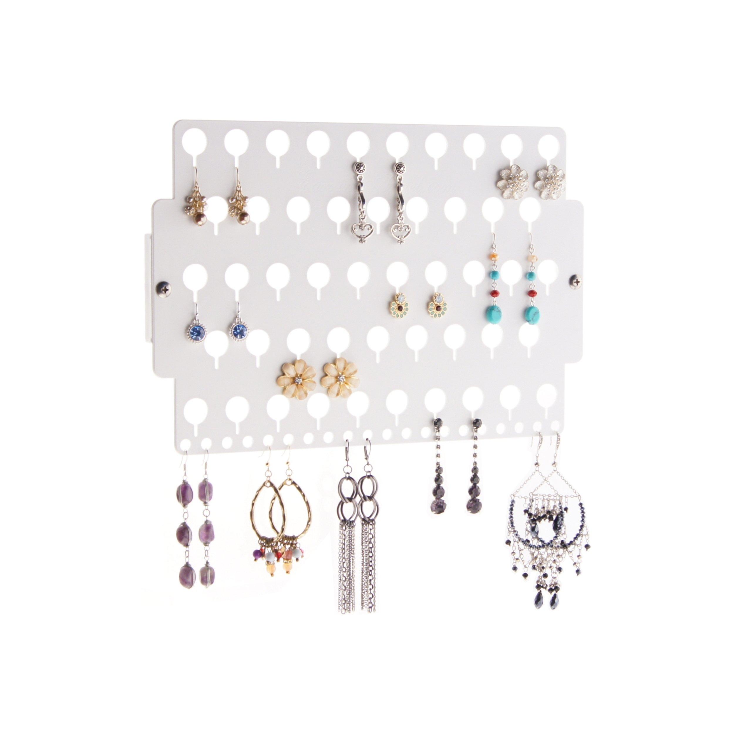 Angelynn's Wall Earring Holder Organizer Jewelry Storage Rack, Earring Angel White