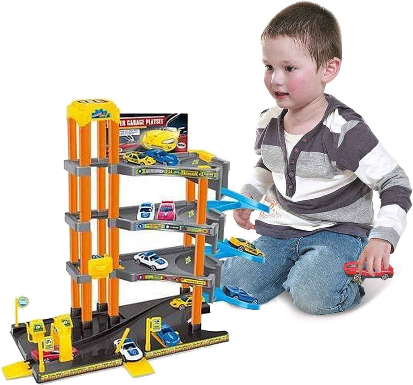 Spiral ramp Koolbitz Toy Garage Large 4 Storey Parking Garage Playset with Rotation lifting function Gas station And 4 car