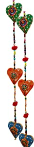 Rastogi Handicrtafts Door Hanging Decorative Cotton heart in Vibrant Color Stringed with Beads and Bell Traditional Indian Hanging Decoration 2 layer