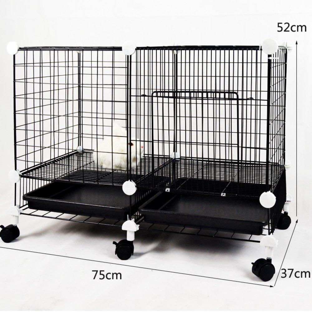 折り畳み式の金属製犬クレート,小型犬猫ケージ ウサギのケージを二層 スリーピース ペット フェンス ホイールとトレイの鉄ケージ ステンレス犬ケージ箱-B B07CVV5MDW 23193 B B