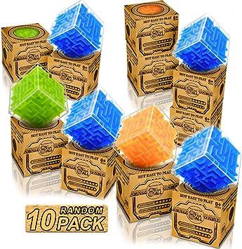 Paquete de 10 Mini Magic Maze Cube para niños Adultos - Tamaño de Viaje 3D Puzzle Game Toys Value Pack niños Favores de Fiesta y premios de Aula y útiles Escolares: Amazon.es: