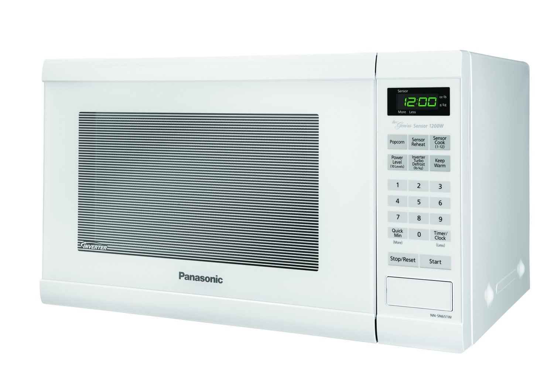 Microwave Oven Compact Countertop Panasonic Electric White 1200 Watt 1.2 cu. ft. Inverter Cookware