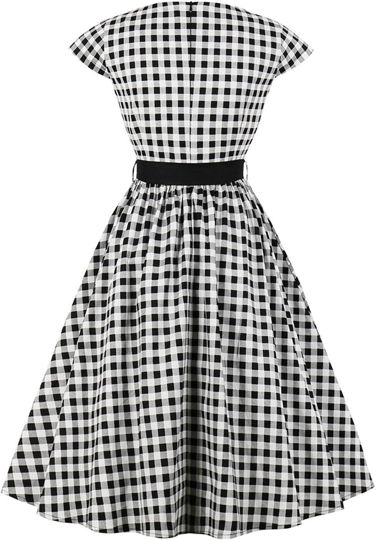 Axoe Damen 50er Jahre Audrey Hepburn Vintage Kleid Rockabilly Cocktail Partykleid Polka Dot
