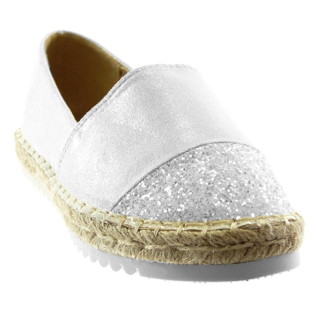 Chaussure Mode Espadrille Slip-on bi-mati/ère m/étallis/é Femme Strass Brillant Corde Talon Plat 2 CM Angkorly