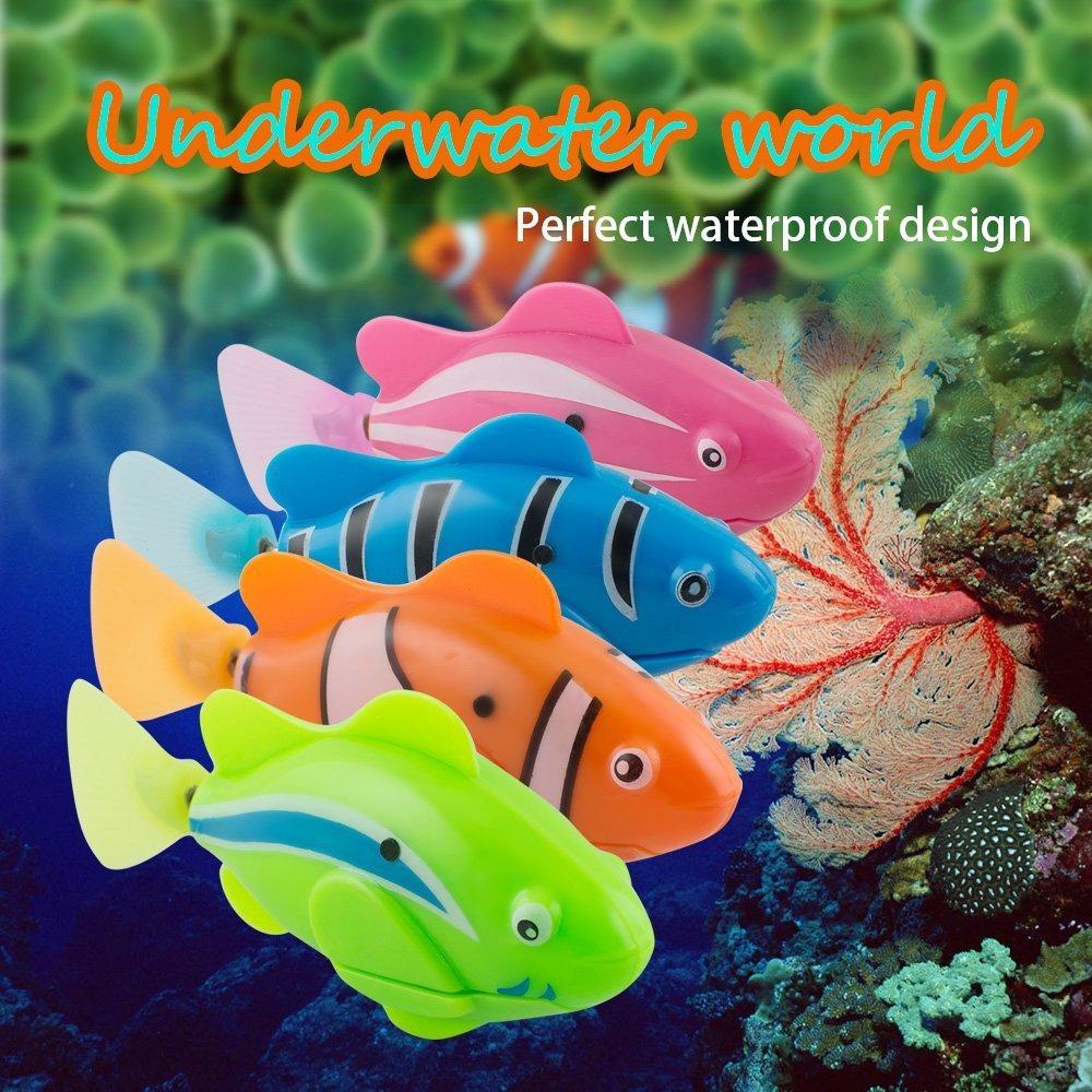 Denshine Piscine Robots Poissons Activés dans l\'eau Magical Enfants Cadeau Jouet electronique Enfants lot de 4