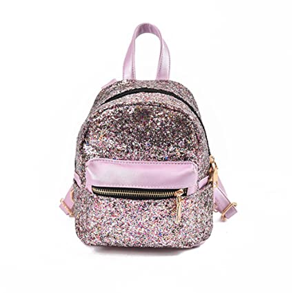 f32badc053d Womens Sequin Mini Backpack Leather Purse Bling Glitter Daypack Girls  School Bag Purple