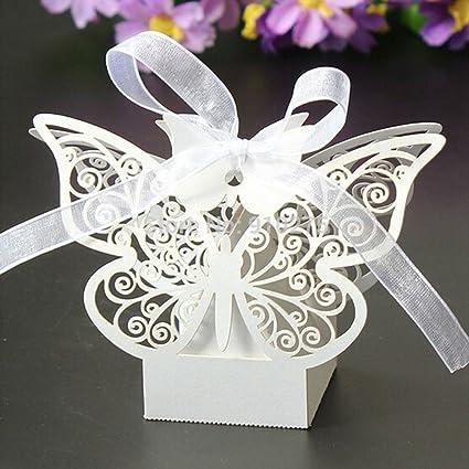 Amazoncom Ponatia 50pcs Laser Cut Butterfly Wedding Favour Box